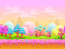 Cartoon fantasy candy land location. Sweet world, seamless background with separated layers for parallax effect in game design, vector illustration