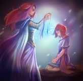 Cartoon fantasy goddess queen gives crystal pendant to girl. Cartoon fantasy illustration of a goddess queen is giving a crystal pendant to young princess in Royalty Free Stock Photo