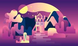 Cartoon fantasy landscape illustration, village house and river, dreamland, fantasy world. Cartoon fantasy landscape illustration, village house and river royalty free illustration