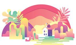 Cartoon fantasy landscape illustration, village house and river, dreamland, fantasy world. Cartoon fantasy landscape illustration, village house and river vector illustration