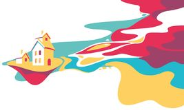 Cartoon fantasy landscape illustration, village house and river, dreamland, fantasy world. Cartoon fantasy landscape illustration, village house and river stock illustration
