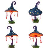 Cartoon Fantasy Magic Glowing Mushroom On White Isolated Background. 3d illustration vector illustration