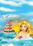 Cartoon fantasy scene of swimming mermaid - beautiful manga girl - sailing ship Royalty Free Stock Photography