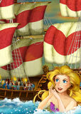 Cartoon fantasy scene of swimming mermaid - beautiful manga girl - sailing ship with party on it Stock Photos