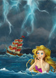 Cartoon fantasy scene of swimming mermaid - beautiful manga girl - sailing ship in the storm Royalty Free Stock Photos