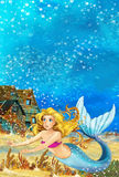 Cartoon fantasy scene underwater creature - mermaid - beautiful manga girl Stock Images