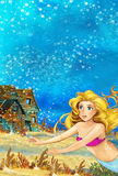 Cartoon fantasy scene underwater creature - mermaid - beautiful manga girl Royalty Free Stock Photography
