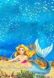 Cartoon fantasy scene underwater creature - mermaid - beautiful manga girl Royalty Free Stock Images