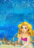 Cartoon fantasy scene underwater creature - mermaid - beautiful manga girl Stock Photography