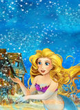 Cartoon fantasy scene underwater creature - mermaid - beautiful manga girl Stock Photo
