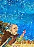 Cartoon fantasy scene underwater creature - mermaid - manga girl Royalty Free Stock Images