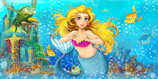 Cartoon fantasy scene of underwater kingdom - beautiful manga girl Stock Images