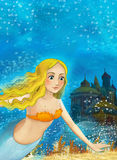 Cartoon fantasy scene on underwater kingdom - beautiful manga girl Royalty Free Stock Photos