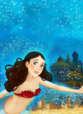 Cartoon fantasy scene on underwater kingdom - beautiful manga girl Royalty Free Stock Photos
