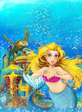 Cartoon fantasy scene of underwater kingdom - beautiful manga girl vector illustration
