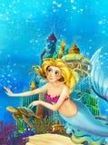 Cartoon fantasy scene on underwater kingdom - beautiful manga girl - mermaid stock illustration
