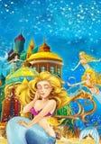 Cartoon fantasy scene on underwater kingdom - beautiful manga girl - mermaid friends Stock Image