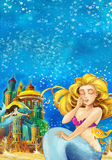 Cartoon fantasy scene on underwater kingdom - beautiful manga girl - mermaid friends Stock Photography