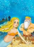 Cartoon fantasy scene on underwater kingdom - beautiful manga girl - mermaid Royalty Free Stock Images