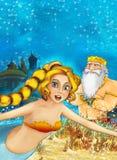 Cartoon fantasy scene on underwater kingdom - beautiful manga girl - mermaid Royalty Free Stock Image