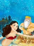 Cartoon fantasy scene on underwater kingdom - beautiful manga girl - mermaid Stock Image
