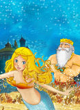 Cartoon fantasy scene on underwater kingdom Stock Photography
