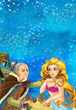 Cartoon fantasy scene on underwater village - with older woman mermaid and young mermaid talking - beautiful manga girl Royalty Free Stock Photos