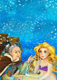 Cartoon fantasy scene on underwater village - with older woman mermaid and young mermaid talking - beautiful manga girl Royalty Free Stock Photography