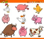 Cartoon farm animal characters collection Stock Images
