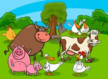Cartoon farm animal characters on meadow Vector Illustration