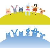 Cartoon farm animals card Royalty Free Stock Images