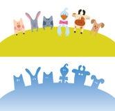 Cartoon farm animals card Royalty Free Stock Images