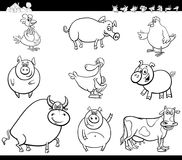 Cartoon farm animals collection color book Royalty Free Stock Image