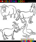 Cartoon Farm Animals for Coloring Book. Black and White Coloring Book or Page Cartoon Illustration Set of Funny Farm and Livestock Animals for Children Stock Image