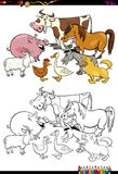 Cartoon farm animals coloring book. Cartoon Illustration of Farm Animal Characters Coloring Book Activity vector illustration