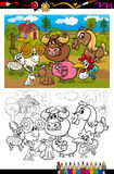 Cartoon farm animals for coloring book Stock Images