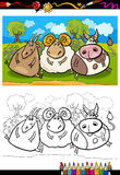 Cartoon farm animals coloring page. Coloring Book or Page Cartoon Illustration of Country Rural Scene with Farm Animals Goat and Bull and Ram Characters for Royalty Free Stock Photos