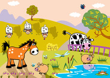 Cartoon farm animals in evening Royalty Free Stock Image