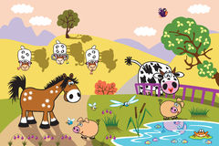 Cartoon farm animals at evening. Cartoon farm animals : sheep, horse ,cow and pig in the pasture field at evening. Rural landscape . Children illustration Stock Images