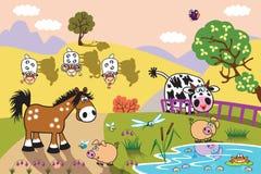 Cartoon farm animals at evening Stock Images