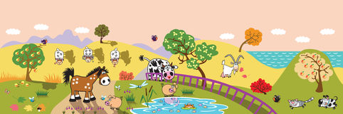 Cartoon farm animals in the field banner. Cartoon farm animals : sheep, horse ,cow and pig in the pasture field at evening. Rural landscape . Children Royalty Free Stock Images