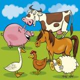 Cartoon farm animals group Stock Images