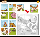 Cartoon farm animals jigsaw puzzle Royalty Free Stock Photography