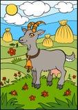 Cartoon farm animals for kids. Cute goat. Stock Photo