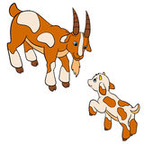 Cartoon farm animals for kids. Father goat with his baby goat. Royalty Free Stock Photos
