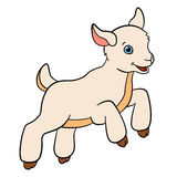Cartoon farm animals for kids. Little cute baby goat. Cartoon farm animals for kids. Little cute baby goat jumps and smiles Stock Photos