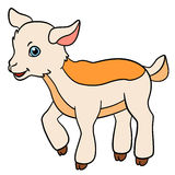 Cartoon farm animals for kids. Little cute baby goat. Royalty Free Stock Images