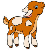 Cartoon farm animals for kids. Little cute goat smiles. Royalty Free Stock Images