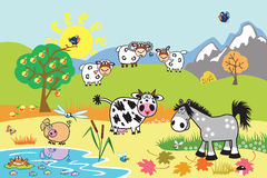 Cartoon farm animals in the pasture. Cartoon farm animals : sheep, horse ,cow and pig in the pasture field. Rural landscape . Children illustration Stock Images