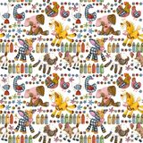 Cartoon farm animals seamless pattern. Cute pet watercolor illustration Stock Photo
